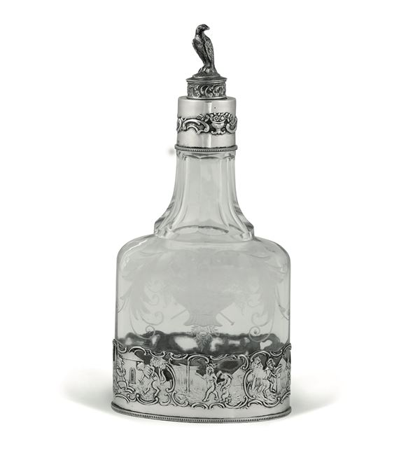 A glass and silver bottle, Germany, 18-1900s