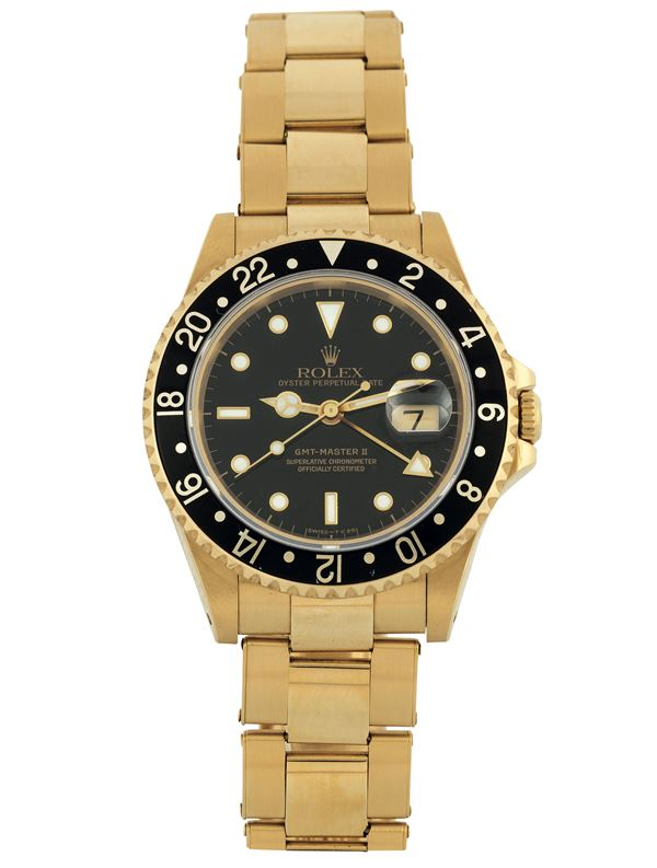 Rolex, Oyster Perpetual Date, GMT-Master II, Superlative Chronometer, Officially Certified, Ref. 16718.  [..]