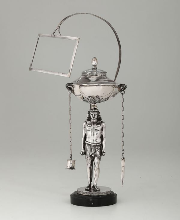 A silver oil lamp, Rome, early 1800s