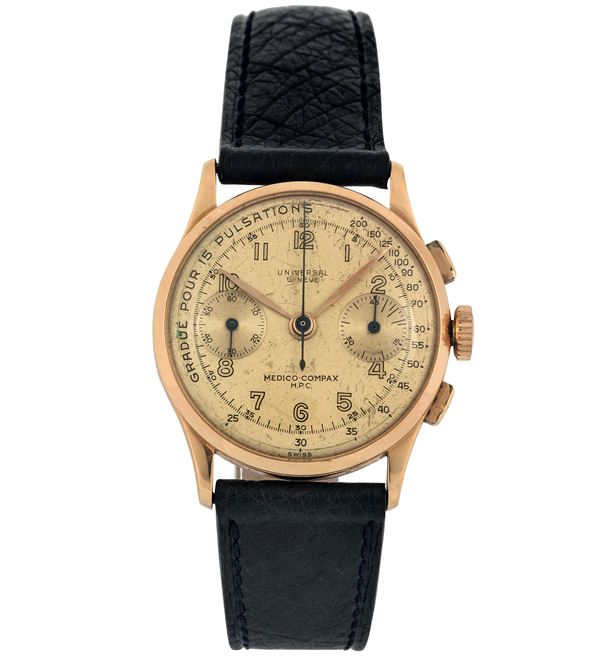 Universal Geneve, Medico Compax, H.P.C, Ref. 12445. Fine and rare,  18K pink gold  wristwatch with square button chronograph, register and pulsometer. Made circa 1950