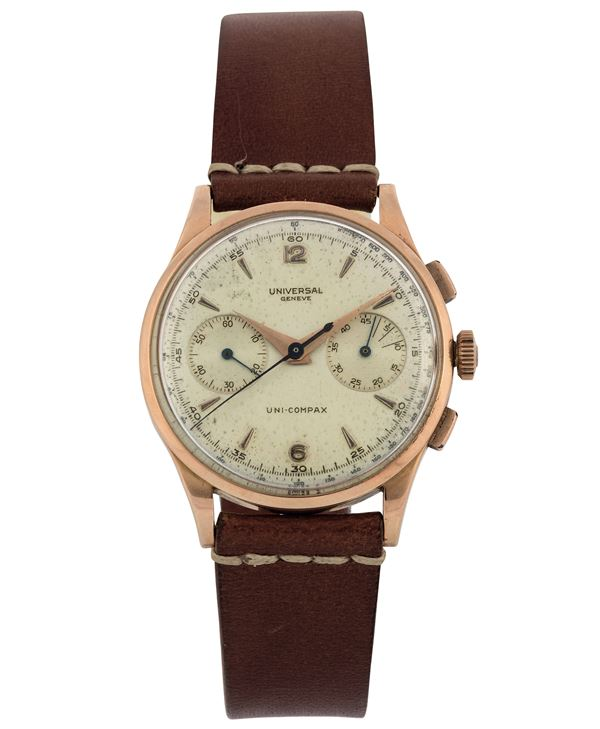 Universal, Geneve, Uni-Compax, case No. 1605142, Ref. 124103. Fine 18K pink gold wristwatch with square button chronograph, register and tachometer. Made in the 1950s.