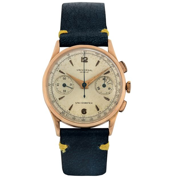 Universal, Geneve, Uni-Compax, case No. 1591899, Ref. 12445. Fine, 18K pink gold wristwatch with square button chronograph, registers and tachometer. Made circa1950