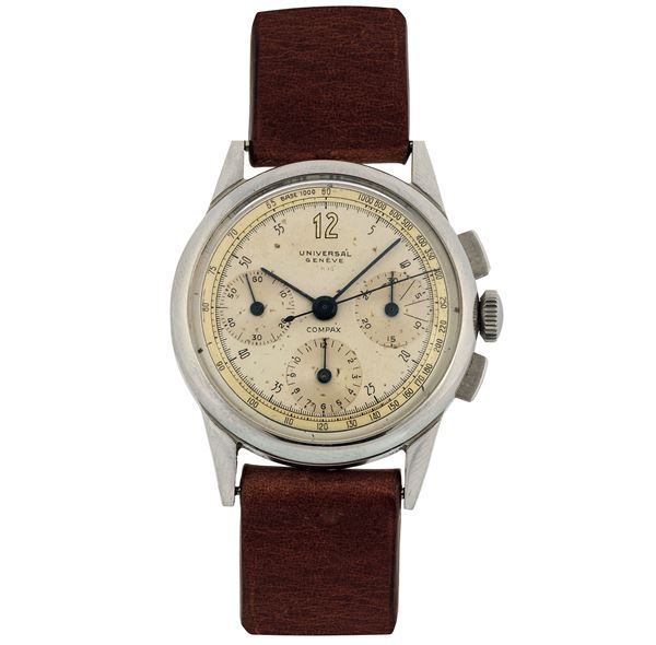 Universal, Geneve, Compax, Ref. 22264. Fine, stainless steel wristwatch with chronograph. Made circa 1950
