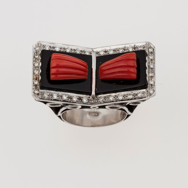 Coral, onix and diamond ring