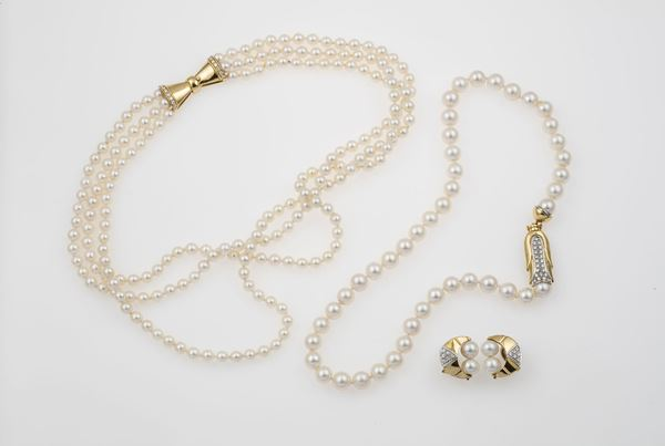 Group of cultured pearls and diamond jewellery
