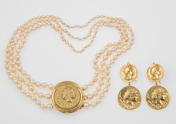 Group of gold and pearl jewellery