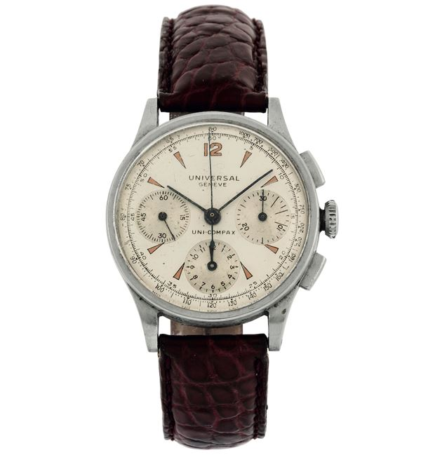 Unversal, Geneve, Uni-Compax, Ref. 5160. Fine, stainless steel chronograph wristwatch. Made circa 1940