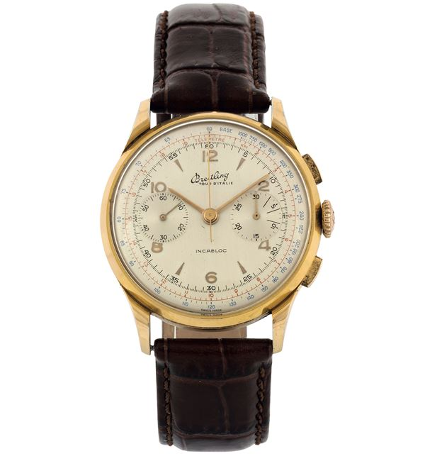 Breitling, Tour D'Italie, Ref. 1190. Fine, stainless steel and gold plated chronograph wristwatch. Made circa 1960