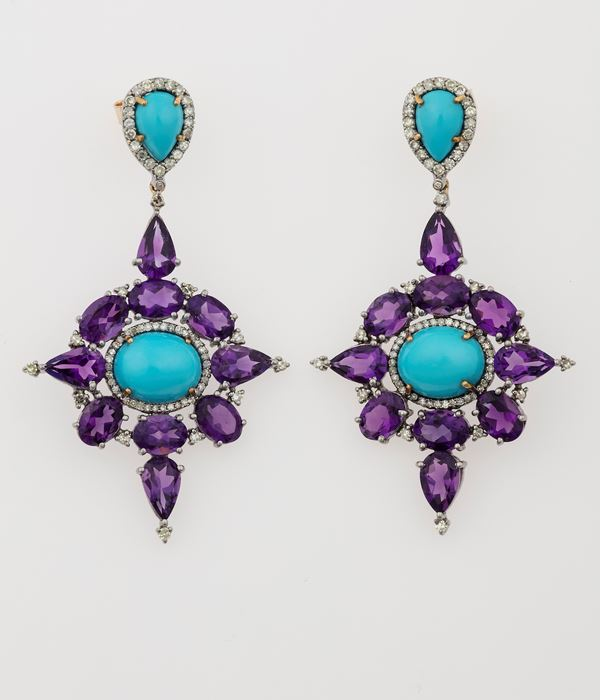 Pair of amethyst, turquoise and diamond earrings