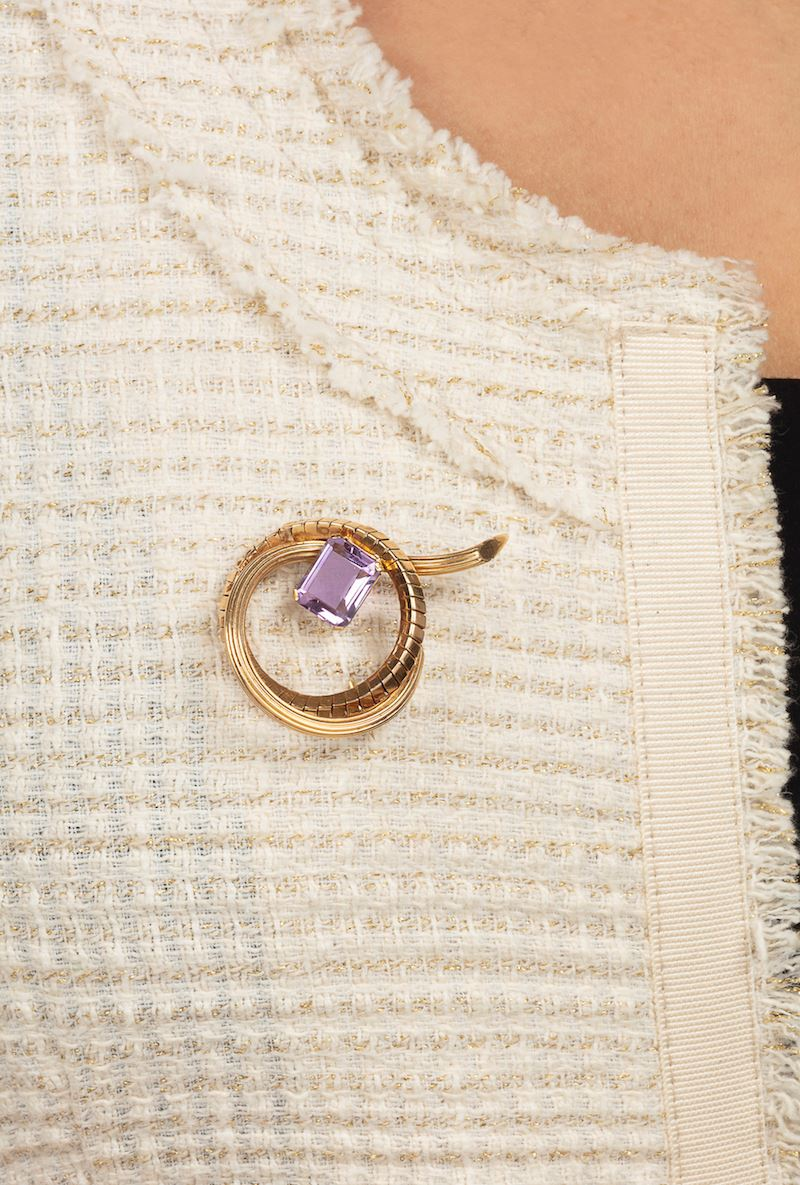 Spilla con ametista  - Auction Jewels - Timed Auction - Cambi Casa d'Aste