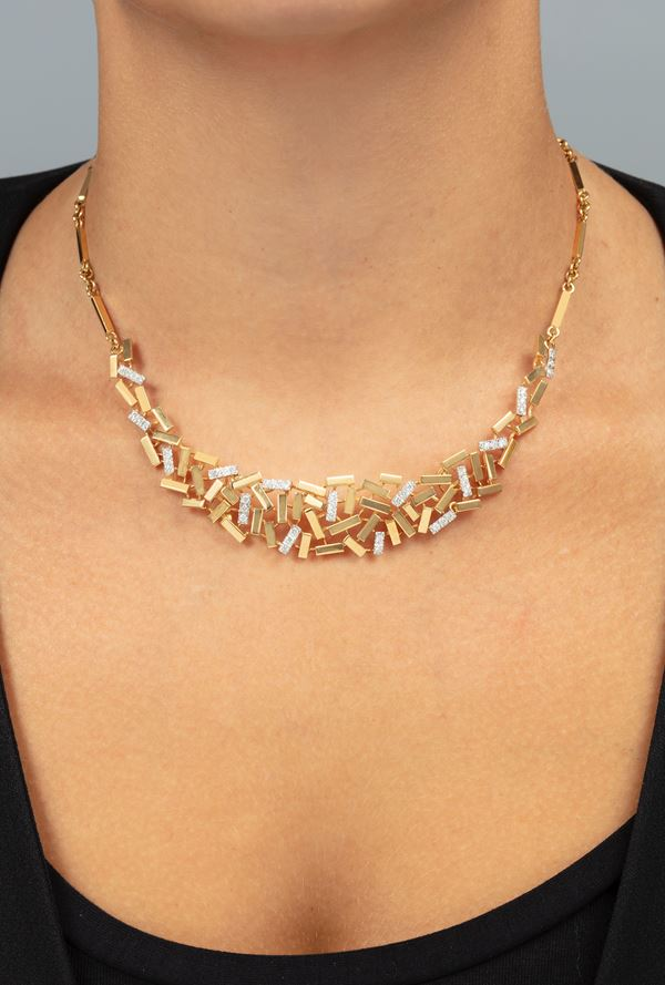 Diamond and gold necklace. Signed Repossi. Fitted case