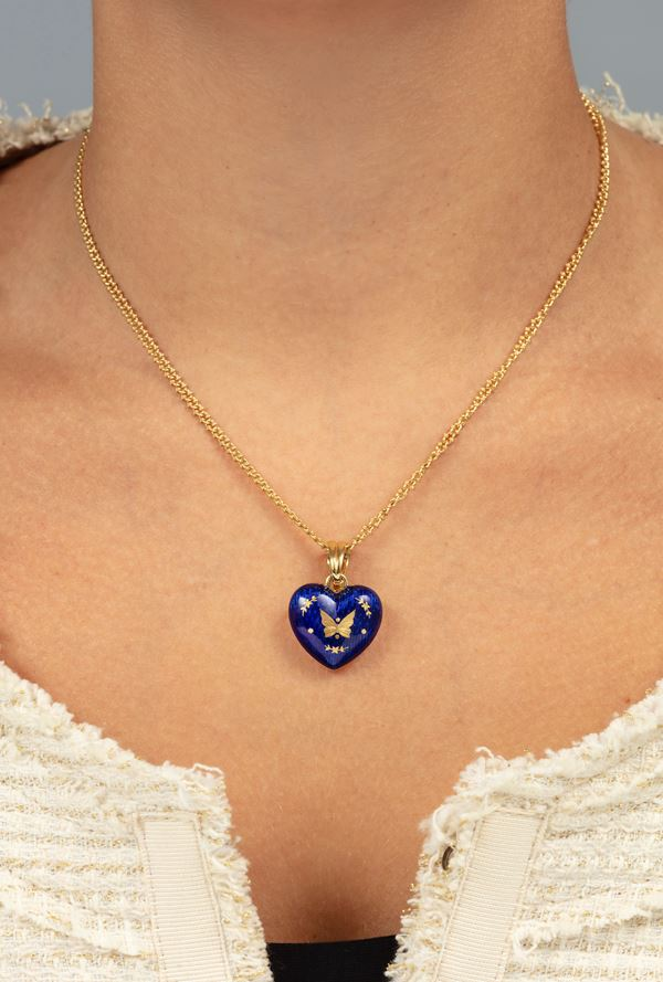 Enamel and gold necklace. signed Fabergé