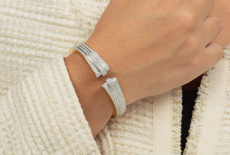 Diamond and gold bangle  - Auction Jewels - Cambi Casa d'Aste