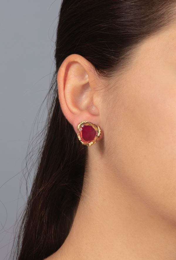 Pair of tourmaline and gold earrings