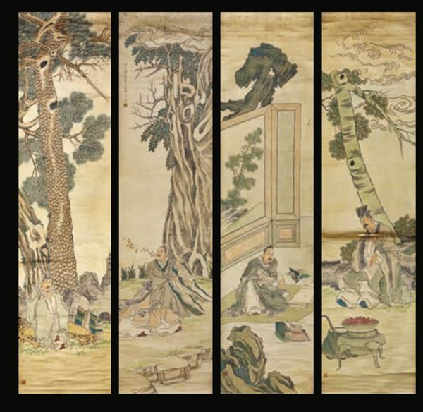 Four paintings on paper, China, Qing Dynasty