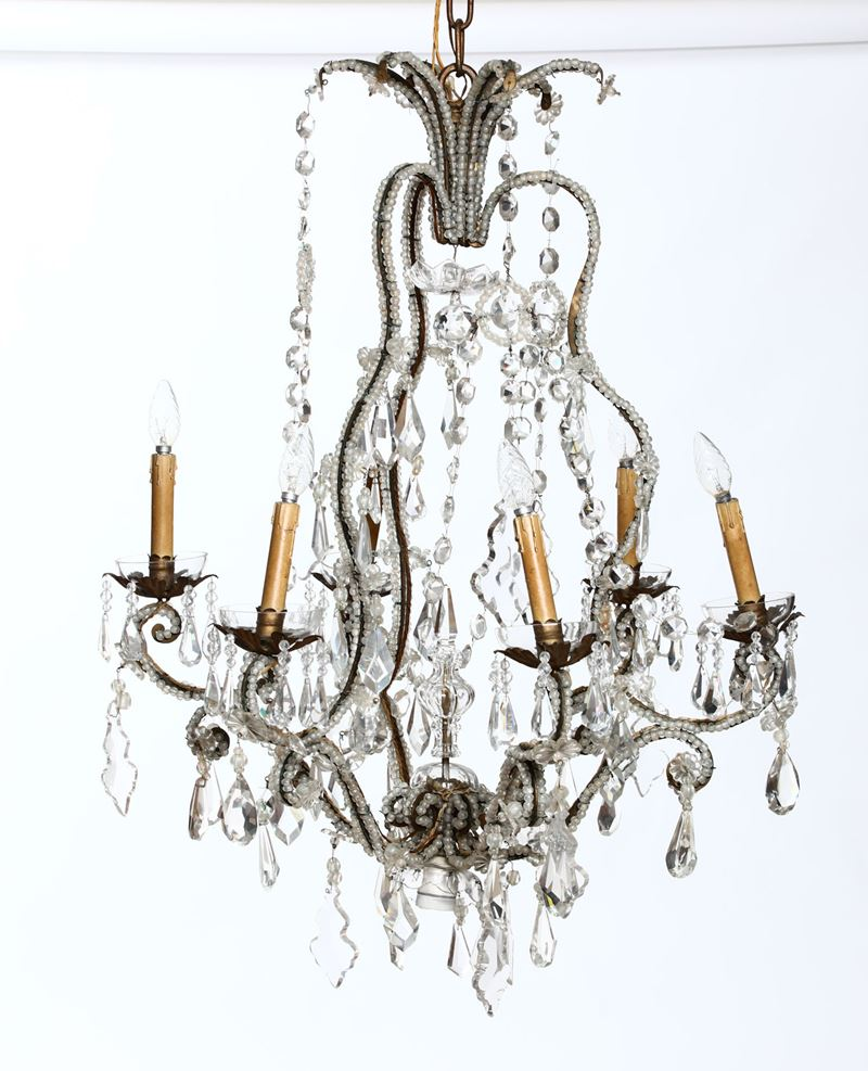 Lampadario in metallo e cristalli, XX secolo  - Auction Furnitures, Paintings and Works of Art - Cambi Casa d'Aste