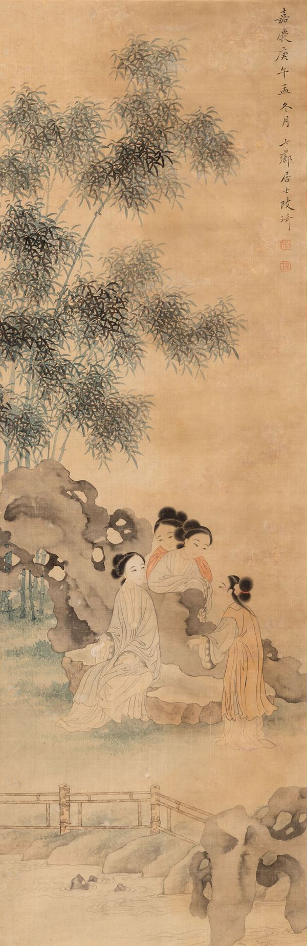 A painting on silk, China, 1900s