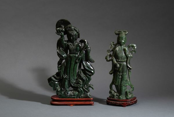 Two jade figures, China, 1900s
