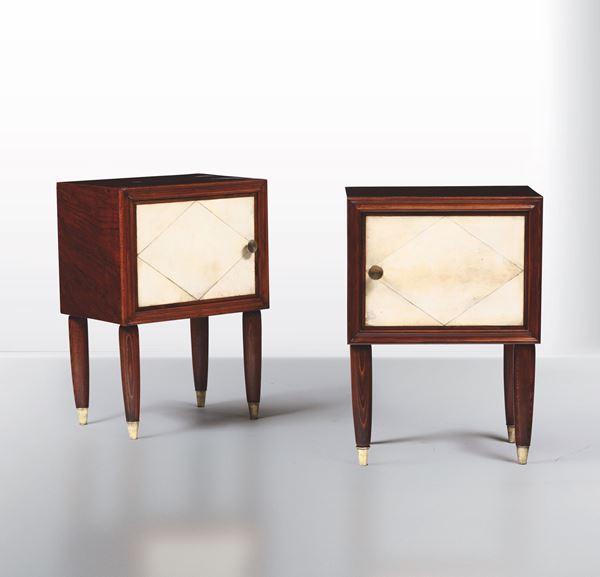 Two wood and sheepskin sideboards, Italy, 1940s