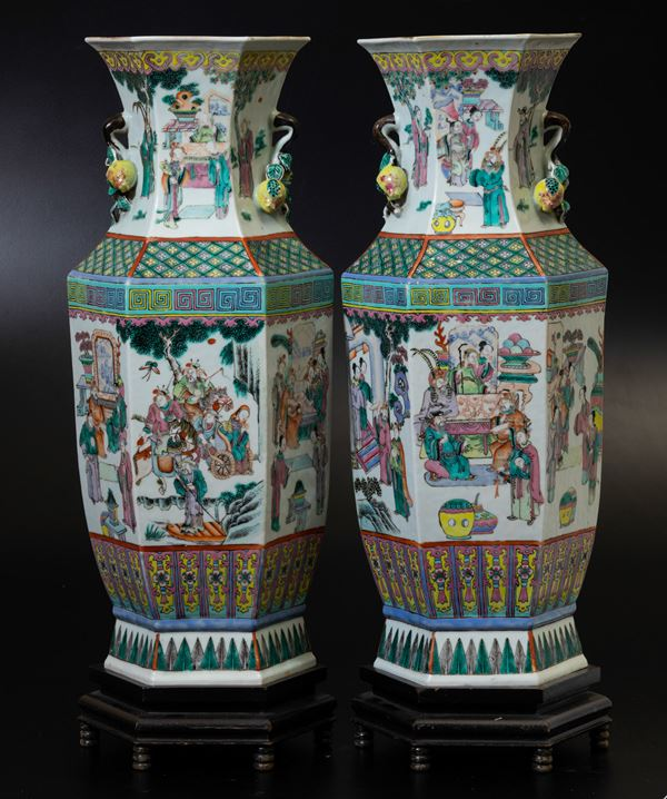 Two Pink Family vases, China, Qing Dynasty