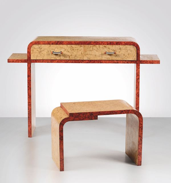 A boxwood table and footstool, Italy, 1930s