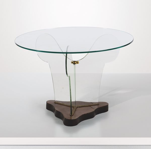 A glass and wood table, Italy, 1940s