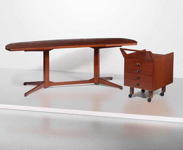 F. Albini, a desk and drawers, Italy, 1950s