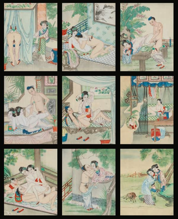 Nine erotic paintings on paper, China, Qing Dynasty