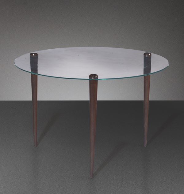 E. Paolucci, a glass and wood table, Italy, 1930s