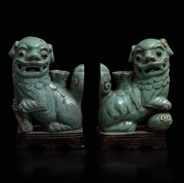 Two grès candle holders, China, Qing Dynasty