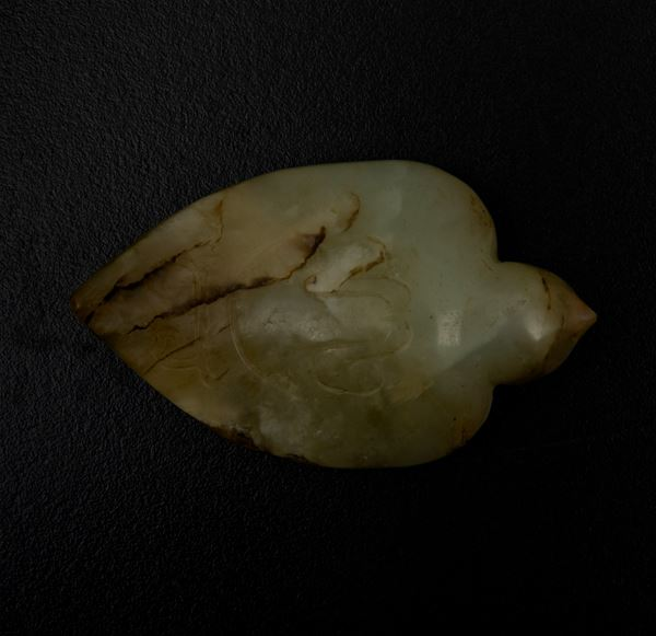 A jade and russet bird, China, Qing Dynasty, 1800s