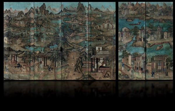 Six painted paper panels, China, Qing Dynasty