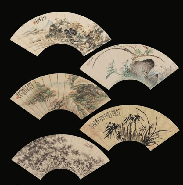 Five painted paper fans, China, 1900s