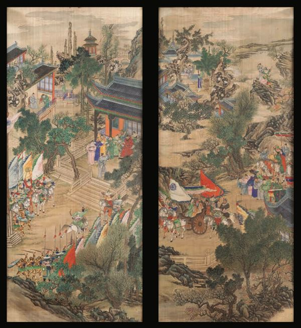 Two paintings on silk, China, Qing Dynasty