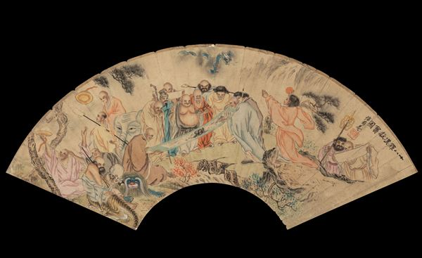 A painted paper fan, China, Qing Dynasty, 1800s
