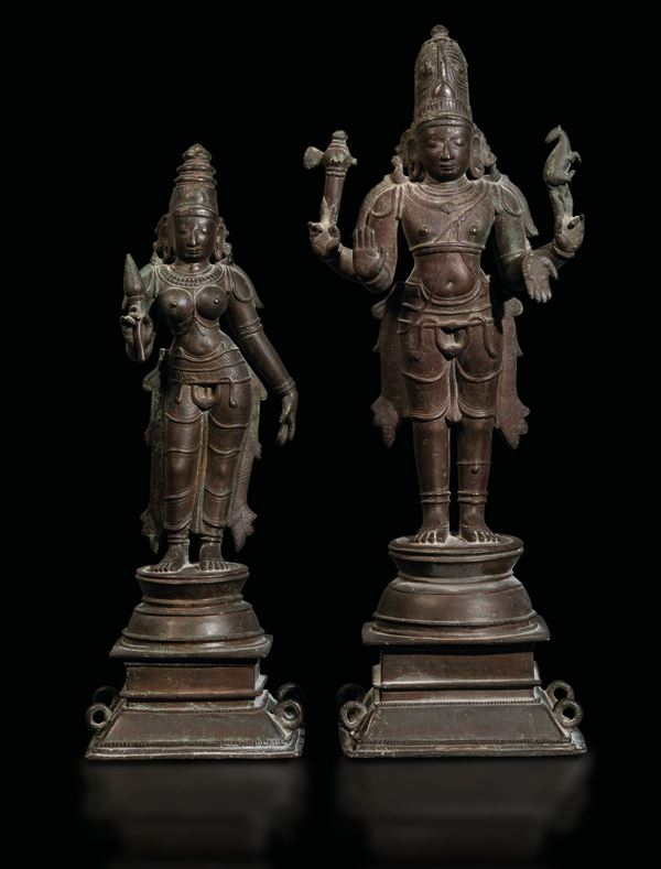 Two bronze figures, South India, Chola Dynasty, 1200s