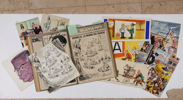 """A collection of 120 original art works from the satirical Weekly """"Il travaso delle idee"""" (published between 1900 and 1966) IL TRAVASO DELLE IDEE"""