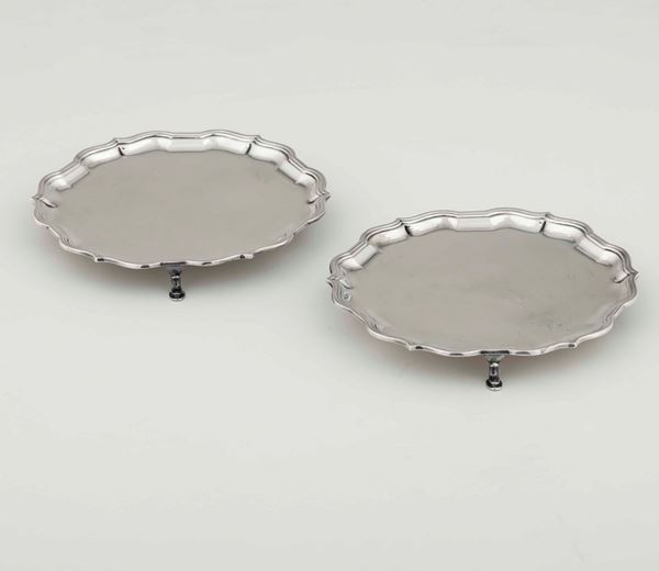 Two silver salvers, Sheffield, 1964