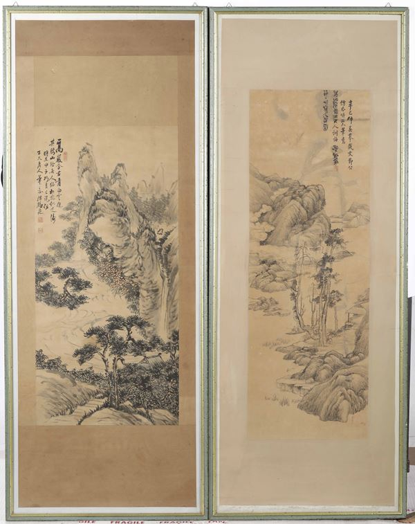 Two paintings on paper, China, Qing Dynasty, 1800s