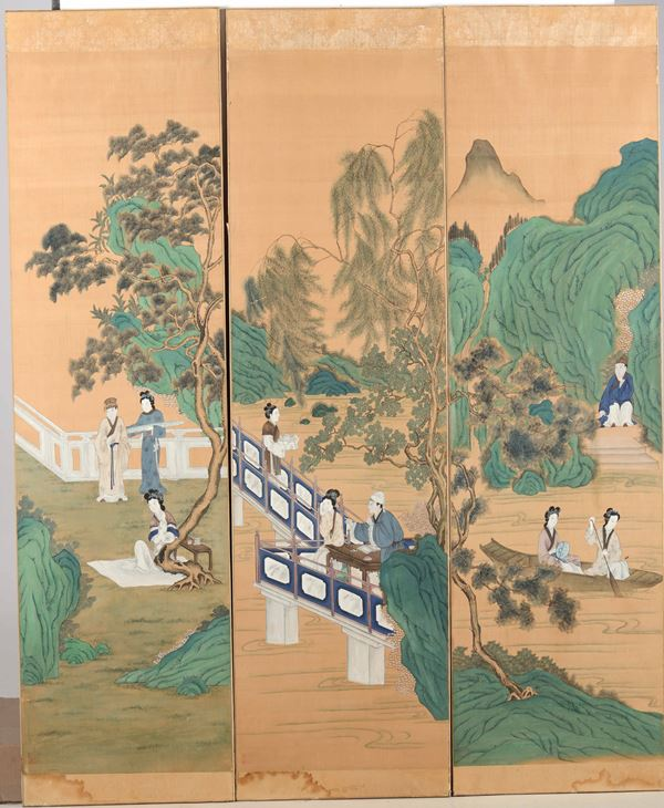 Three paintings on silk, China, Qing Dynasty, 1800s