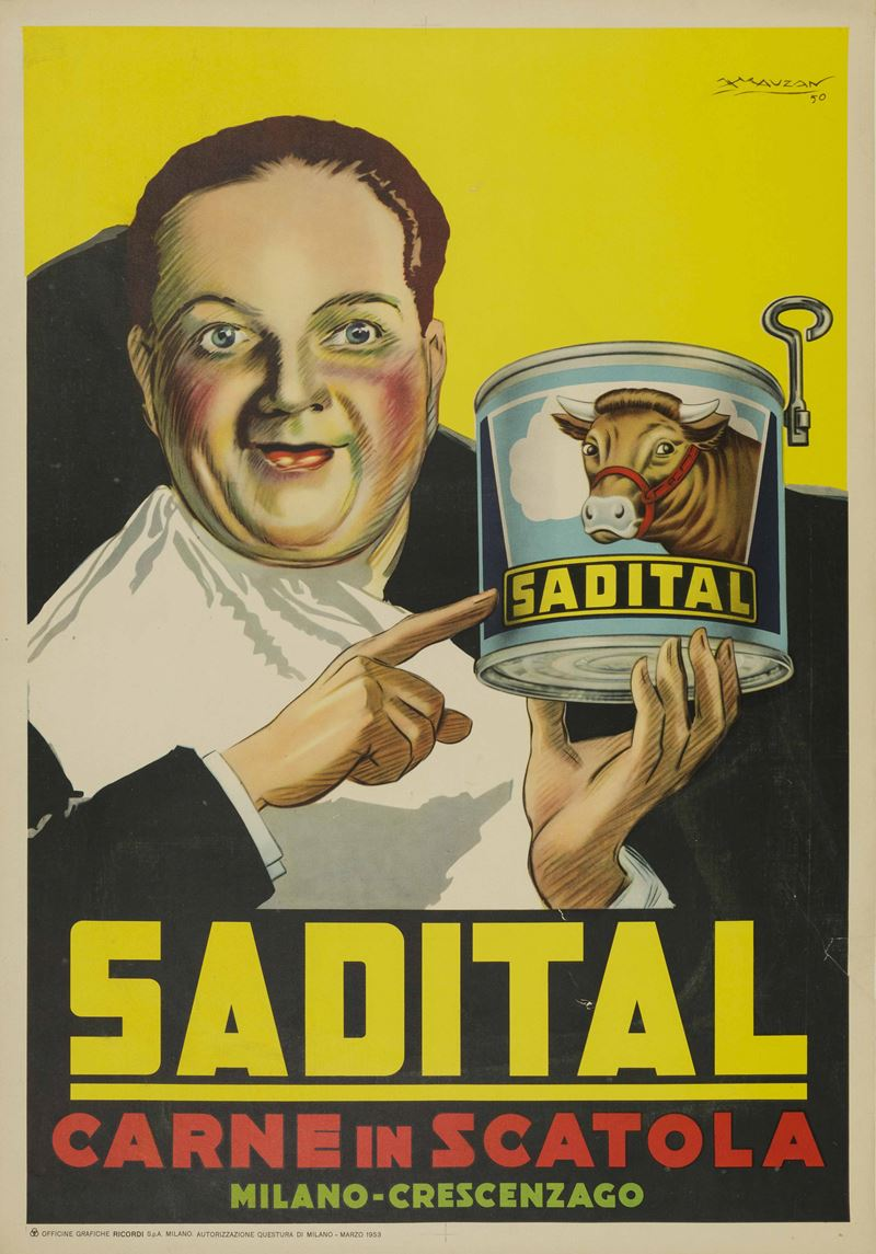 Achille Luciano Mauzan (1883 – 1952)<br>SADITAL CARNE IN SCATOLA  - Auction Vintage Posters - Cambi Casa d'Aste