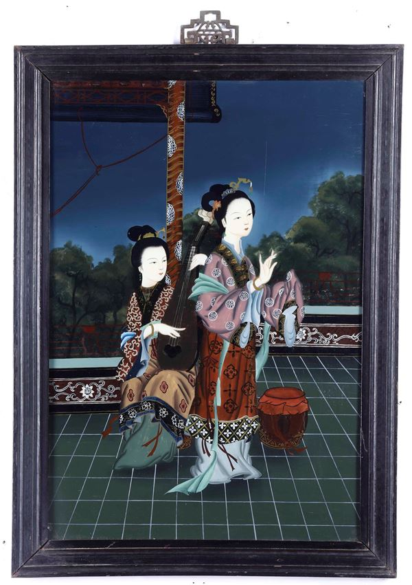 Five paintings on glass, China, 1900s