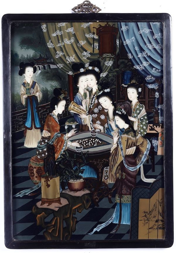 Two paintings on glass, China, 1900s