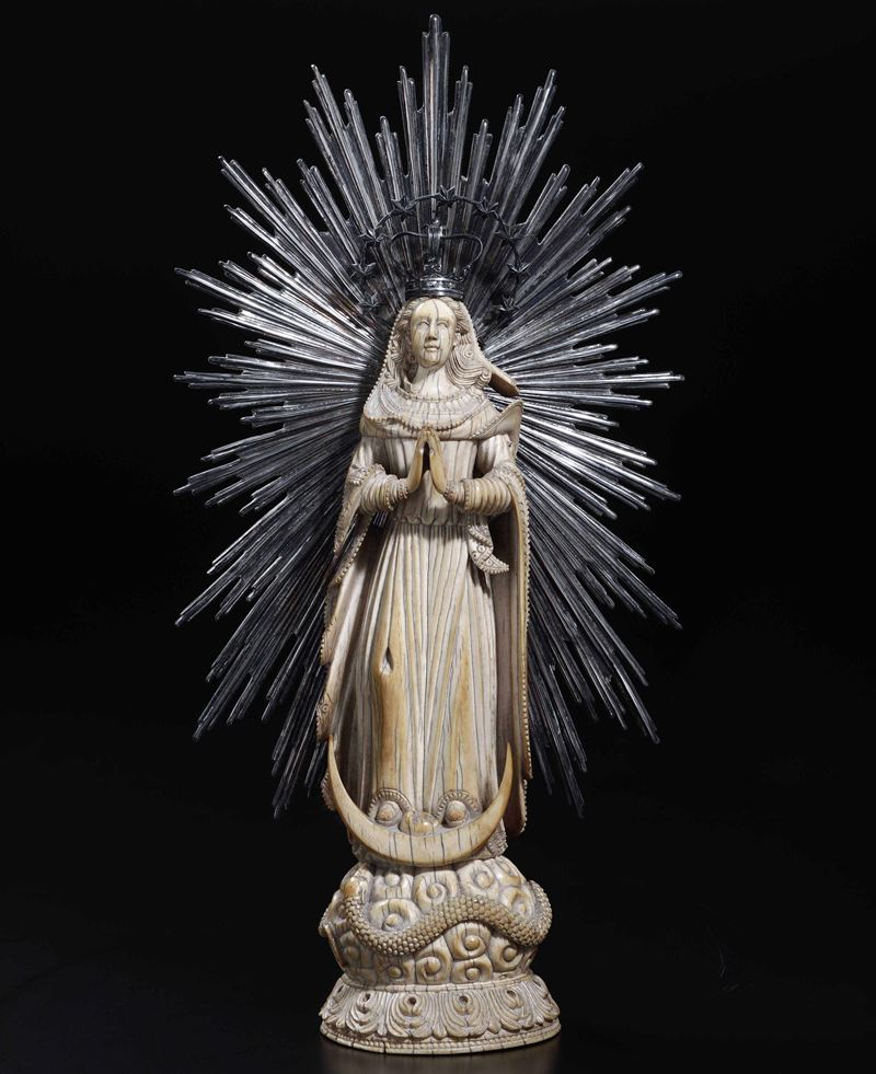 An ivory Madonna, Goa or Philippines, 1700s  - Auction Sculpture and Works of Art - Cambi Casa d'Aste