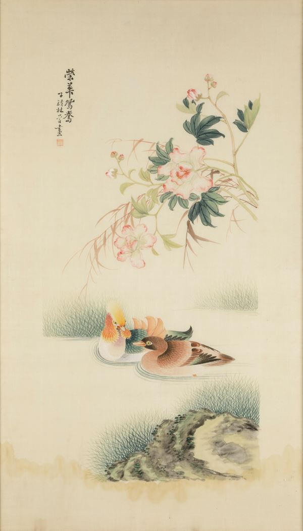 Two paintings on silk, China, Qing Dynasty, 1800s