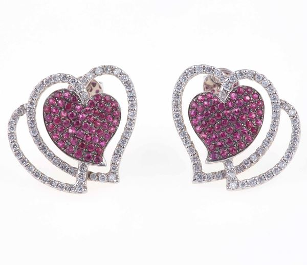 Pair of synthetic ruby and diamond earrings