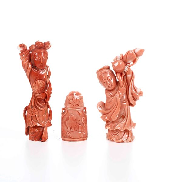 Three coral items, China, early 1900s