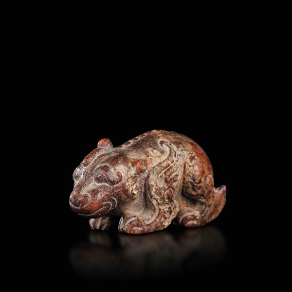 A jade and russet dragon, China, Song Dynasty