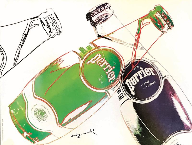 Andy Warhol : Andy Warhol (1928-1987) PERRIER<BR>  - Asta Manifesti   Cambi Time - I - Cambi Casa d'Aste