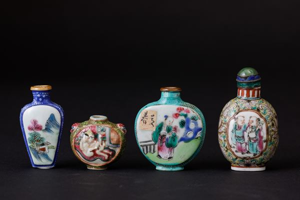 Four porcelain snuff bottles, China, Qing Dynasty